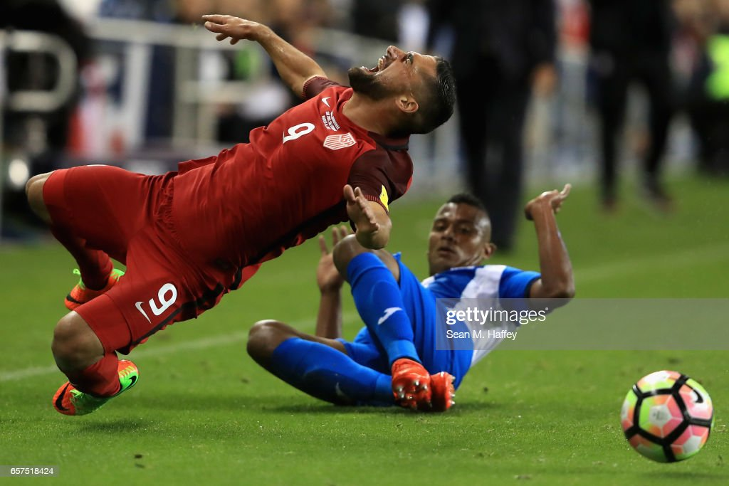 Ever Alvarado #5 of Honduras trips Sebastian Lletget #9 of the United States during their FIFA 2018 World Cup Qualifier at Avaya Stadium on March 24, 2017 in San Jose, California.