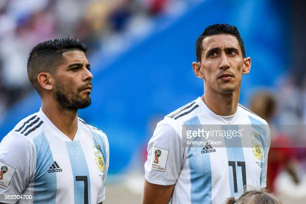 Ever Banega and Angel Di Maria of Argentina during the FIFA World Cup Round of 16 match between France and Argentina at Kazan Arena on June 30 2018...