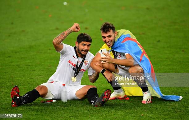 Ever Banega and Munir of Sevilla celebrate following their team's victory in the UEFA Europa League Final between Seville and FC Internazionale at...