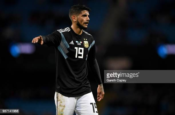 Ever Banega of Argentina during the International Friendly between Argentina and Italy at Etihad Stadium on March 23 2018 in Manchester England