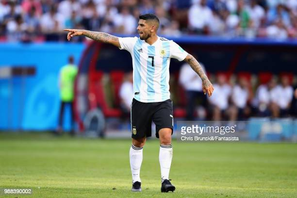 Ever Banega of Argentina gestures during the 2018 FIFA World Cup Russia Round of 16 match between France and Argentina at Kazan Arena on June 30 2018...