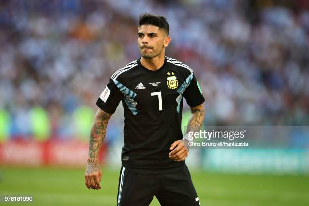 Ever Banega of Argentina in action during the 2018 FIFA World Cup Russia group D match between Argentina and Iceland at Spartak Stadium on June 16...