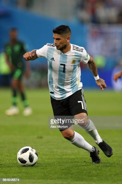 Ever Banega of Argentina in action during the 2018 FIFA World Cup Russia group D match between Nigeria and Argentina at Saint Petersburg Stadium on...