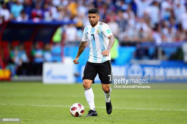 Ever Banega of Argentina in action during the 2018 FIFA World Cup Russia Round of 16 match between France and Argentina at Kazan Arena on June 30...