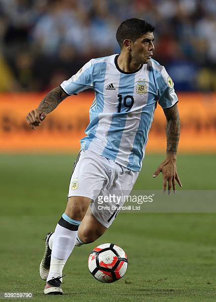 Ever Banega of Argentina in action during the Copa America Centenario Group D match between Argentina and Chile at Levi's Stadium on June 6 2016 in...