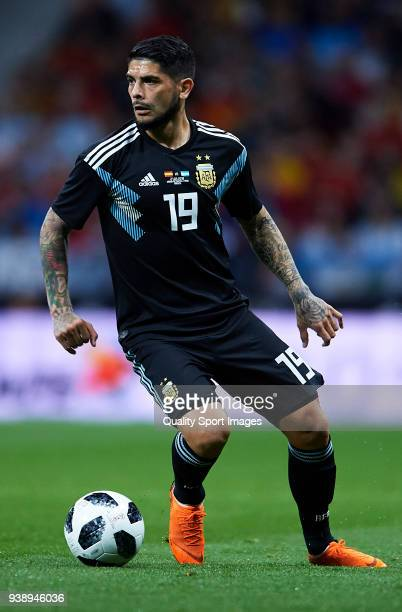 Ever Banega of Argentina in action during the international friendly match between Spain and Argentina at Wanda Metropolitano stadium on March 27...
