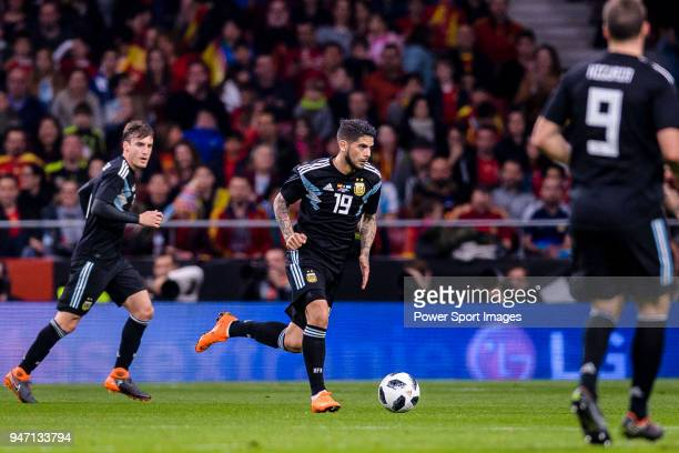 Ever Banega of Argentina in action during the International Friendly 2018 match between Spain and Argentina at Wanda Metropolitano Stadium on 27...