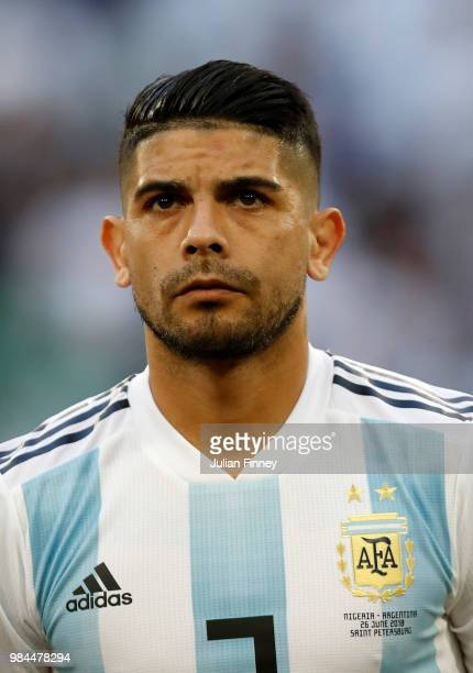Ever Banega of Argentina lines up prior to the 2018 FIFA World Cup Russia group D match between Nigeria and Argentina at Saint Petersburg Stadium on...