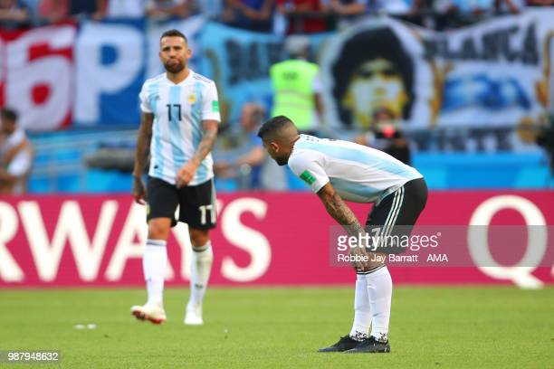Ever Banega of Argentina looks dejected during the 2018 FIFA World Cup Russia Round of 16 match between France and Argentina at Kazan Arena on June...