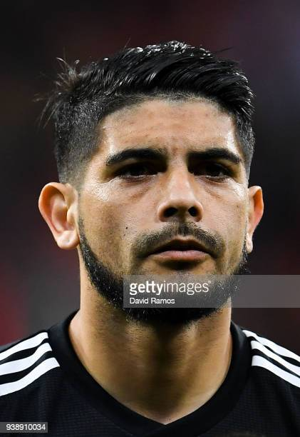 Ever Banega of Argentina looks on during an International friendly match between Spain and Argentina at the Wanda Metropolitano stadium on March 27...