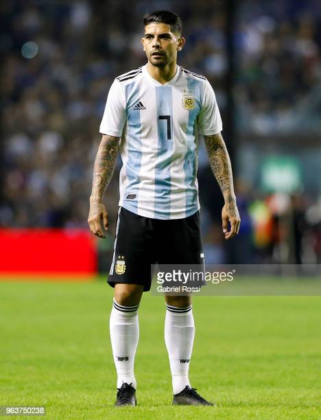 Ever Banega of Argentina looks on during an international friendly match between Argentina and Haiti at Alberto J Armando Stadium on May 29 2018 in...