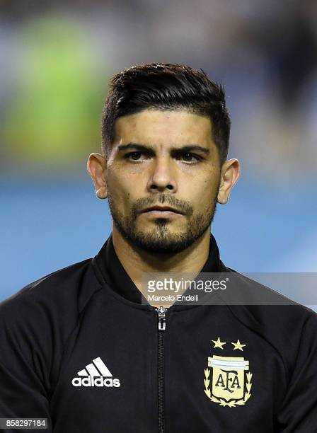 Ever Banega of Argentina looks on prior to a match between Argentina and Peru as part of FIFA 2018 World Cup Qualifiers at Estadio Alberto J Armando...