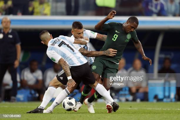 Ever Banega of Argentina Nicolas Otamendi of Argentina Odion Ighalo of Nigeria during the 2018 FIFA World Cup Russia group D match between Nigeria...