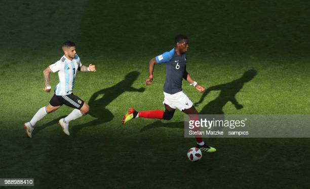 Ever BANEGA of Argentina Paul Pogba of France during the 2018 FIFA World Cup Russia Round of 16 match between France and Argentina at Kazan Arena on...