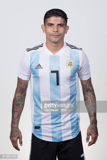 Ever Banega of Argentina poses for a portrait during the official FIFA World Cup 2018 portrait session on June 12 2018 in Moscow Russia