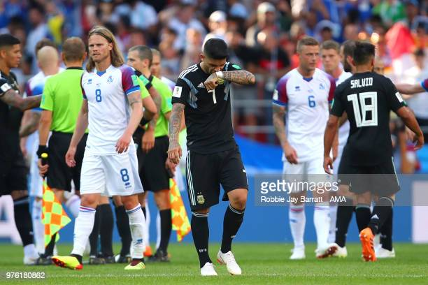 Ever Banega of Argentina reacts at the end of the 2018 FIFA World Cup Russia group D match between Argentina and Iceland at Spartak Stadium on June...