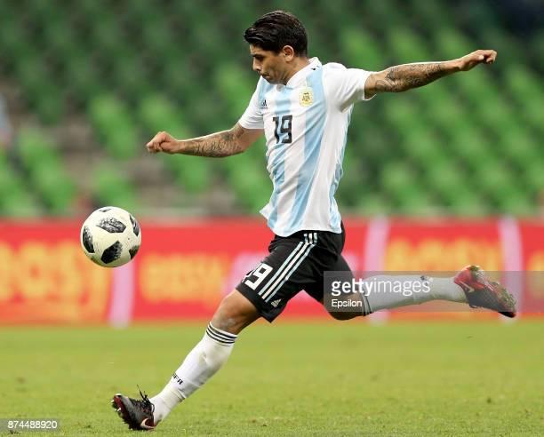 Ever Banega of Argentina takes a shot during an international friendly match between Argentina and Nigeria at Krasnodar Stadium on November 14 2017...
