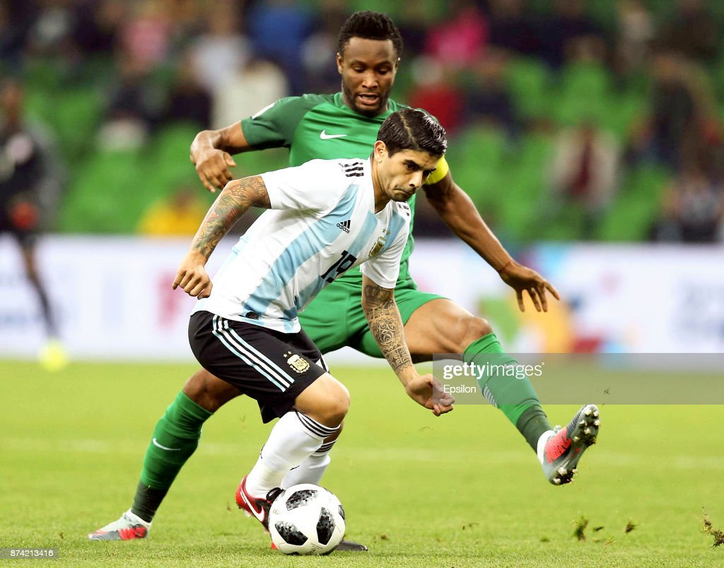 Ever Banega of Argentina vies for the ball with John Obi Mikel of Nigeria during Argentina and Nigeria International friendly match at Krasnodar Stadium on November 14, 2017 in Krasnodar, Russia.
