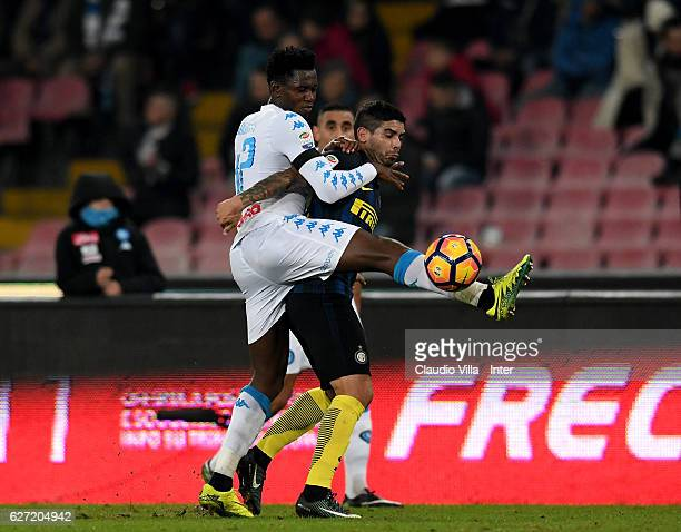 Ever Banega of FC Internazionale and Amadou Diawara of SSC Napoli compete for the ball during the Serie A match between SSC Napoli and FC...