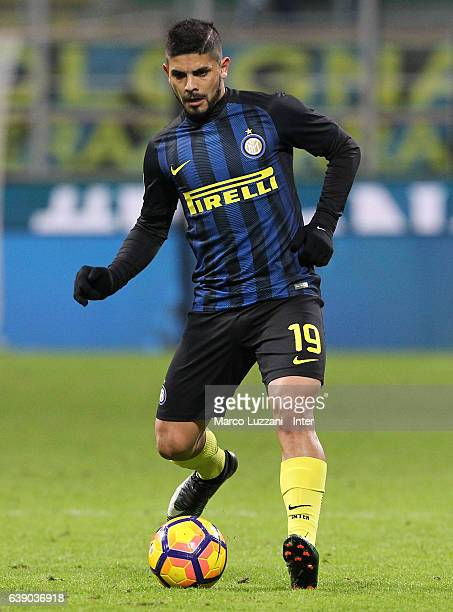 Ever Banega of FC Internazionale Milano in action during the Serie A match between FC Internazionale and AC ChievoVerona at Stadio Giuseppe Meazza on...