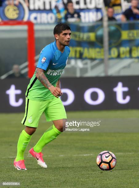 Ever Banega of Inter during the Serie A match between FC Crotone and FC Internazionale at Stadio Comunale Ezio Scida on April 9 2017 in Crotone Italy