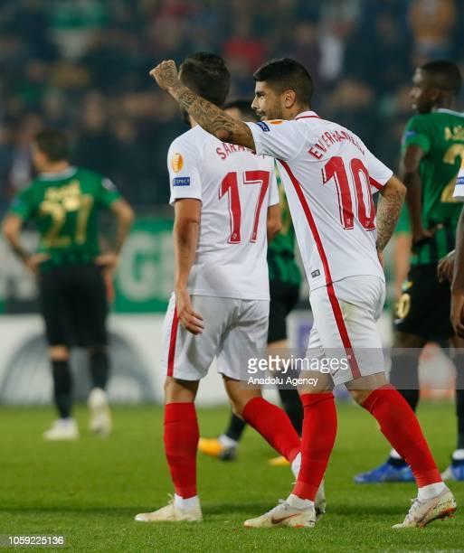 Ever Banega of Sevilla celebrates after a goal during UEFA Europa League Group J soccer match between Akhisarspor and Sevilla at Spor Toto Akhisar...