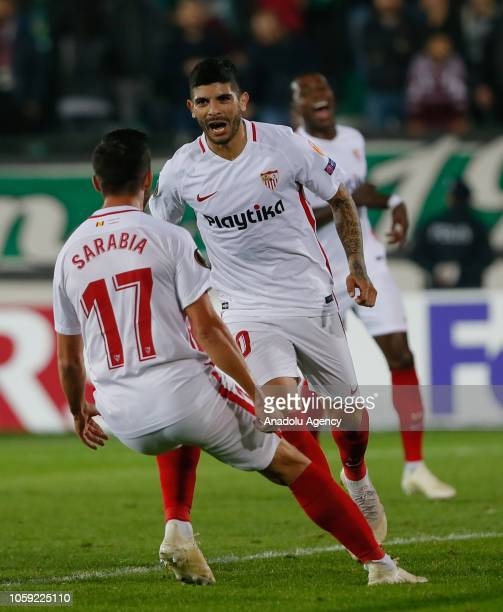 Ever Banega of Sevilla celebrates after a penalty kick during UEFA Europa League Group J soccer match between Akhisarspor and Sevilla at Spor Toto...