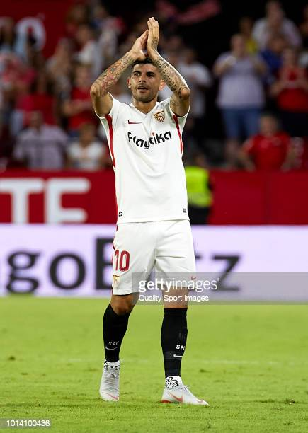 Ever Banega of Sevilla celebrates after scoring his sides first goal during the UEFA Europa League Third Qualifying Round first Leg match between...