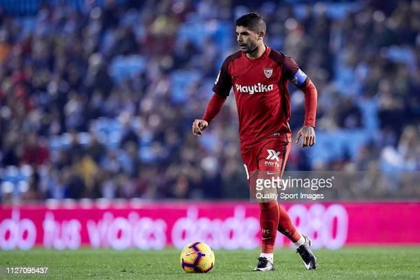 Ever Banega of Sevilla CF in action during the La Liga match between RC Celta de Vigo and Sevilla FC at Abanca Balaidos Staidum on February 02 2019...
