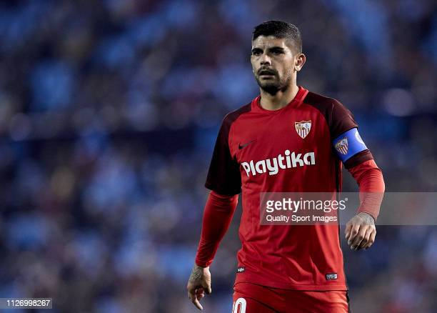 Ever Banega of Sevilla CF looks on during the La Liga match between RC Celta de Vigo and Sevilla FC at Abanca Balaidos Staidum on February 02 2019 in...
