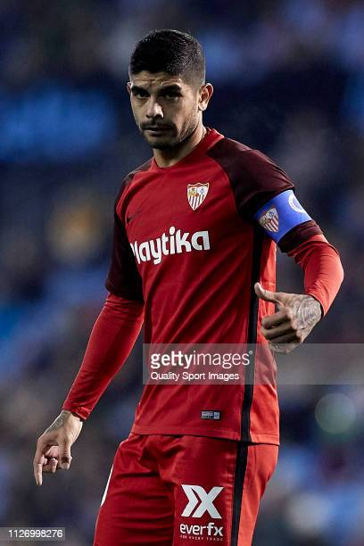 Ever Banega of Sevilla CF reacts during the La Liga match between RC Celta de Vigo and Sevilla FC at Abanca Balaidos Staidum on February 02 2019 in...