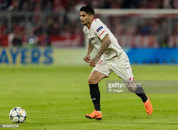 Ever Banega of Sevilla controls the ball during the UEFA Champions League quarter final second leg match between Bayern Muenchen and Sevilla FC at...