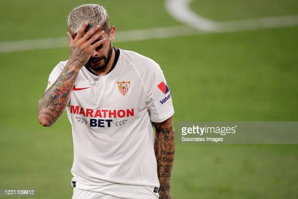 Ever Banega of Sevilla during the La Liga Santander match between Sevilla v FC Barcelona at the Estadio Ramon Sanchez Pizjuan on June 19 2020 in...