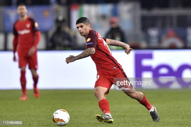 Ever Banega of Sevilla during the UEFA Europa League round of 32 match between Lazio and Sevilla at Stadio Olimpico Rome Italy on 14 February 2019