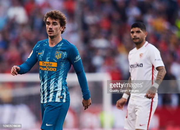 Ever Banega of Sevilla FC and Antoine Griezmann of Atletico de Madrid look on during the La Liga match between Sevilla FC and Club Atletico de Madrid...