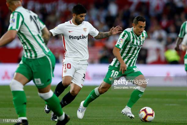 Ever Banega of Sevilla FC Andres Guardado of Real Betis during the La Liga Santander match between Sevilla v Real Betis Sevilla at the Estadio Ramon...
