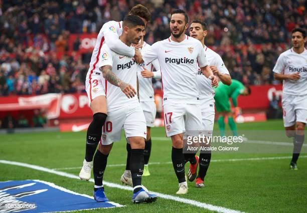 Ever Banega of Sevilla FC celebrates after scoring during the La Liga match between Sevilla FC and Girona FC at Estadio Ramon Sanchez Pizjuan on...