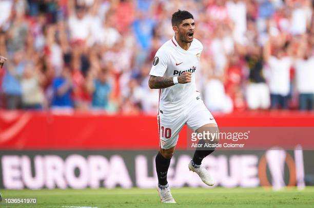 Ever Banega of Sevilla FC celebrates after scoring during the UEFA Europa League Group J match between Sevilla and Royal Standard de Liege at Estadio...
