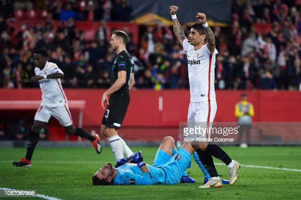 Ever Banega of Sevilla FC celebrates after scoring during the UEFA Europa League Group J match between Sevilla and FC Krasnodar at Estadio Ramon...