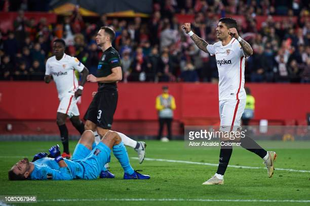 Ever Banega of Sevilla FC celebrates after scoring during the UEFA Europa League Group J match between Sevilla and FC Krasnodar at Estadio Ramon...