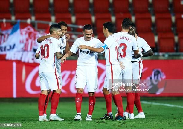 Ever Banega of Sevilla FC celebrates after scoring his team's third goal during the La Liga match between SD Eibar and Sevilla FC at Ipurua Municipal...