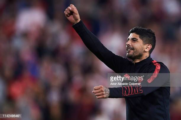 Ever Banega of Sevilla FC celebrates after wining the match against Real Betis Balompie during the La Liga match between Sevilla FC and Real Betis...