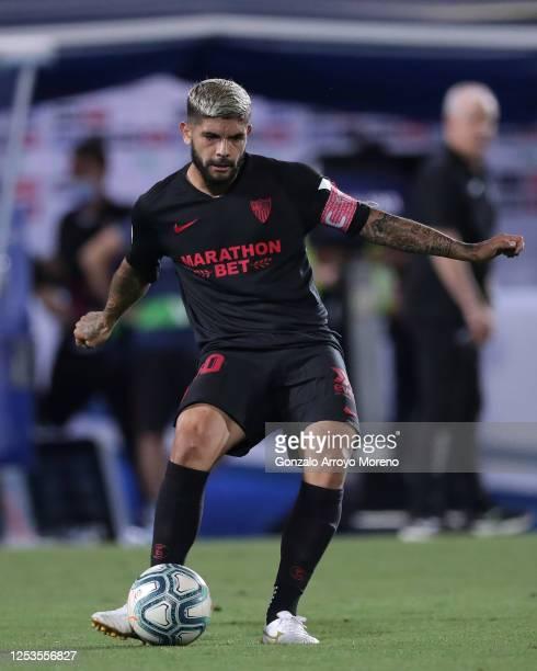 Ever Banega of Sevilla FC controls the ball during the Liga match between CD Leganes and Sevilla FC at Estadio Municipal de Butarque on June 30 2020...