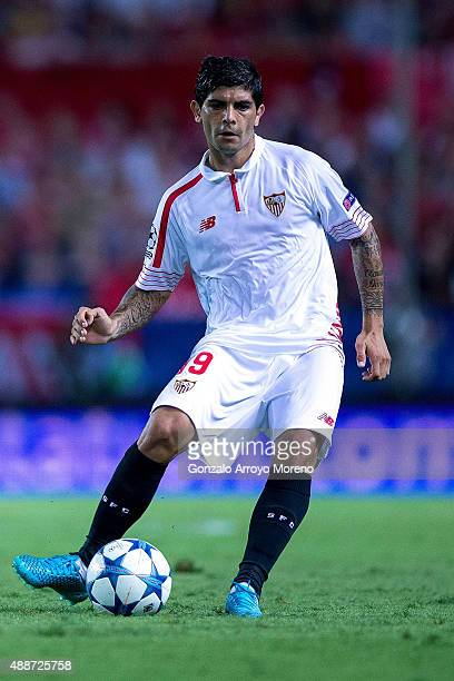 Ever Banega of Sevilla FC controls the ball during the UEFA Champions League Group D match between Sevilla FC and VfL Borussia Monchengladbach at...