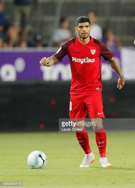 Ever Banega of Sevilla FC controls the ball during the UEFA Europa League Second Qualifying Round 2nd Leg match between Ujpest FC and Sevilla FC at...