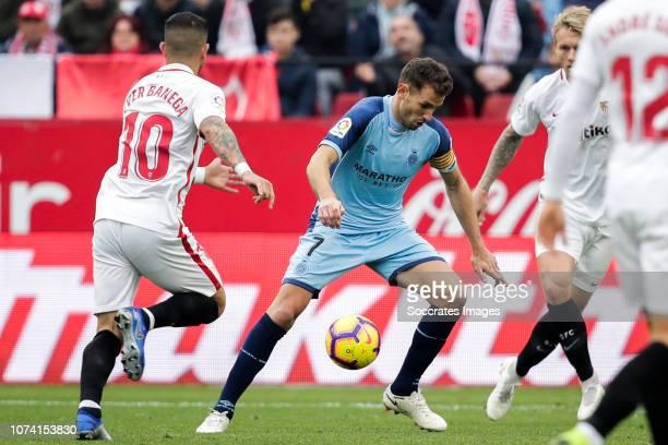 Ever Banega of Sevilla FC Cristhian Stuani of Girona during the La Liga Santander match between Sevilla v Girona at the Estadio Ramon Sanchez Pizjuan...