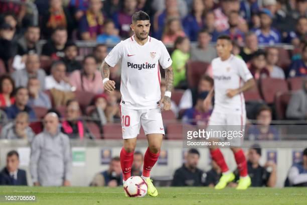 Ever Banega of Sevilla FC during the La Liga Santander match between FC Barcelona v Sevilla at the Camp Nou on October 20 2018 in Barcelona Spain