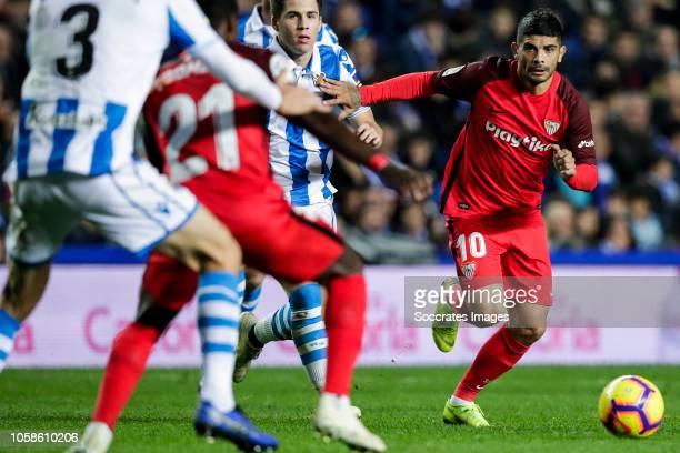 Ever Banega of Sevilla FC during the La Liga Santander match between Real Sociedad v Sevilla at the Estadio Anoeta on November 4 2018 in San...