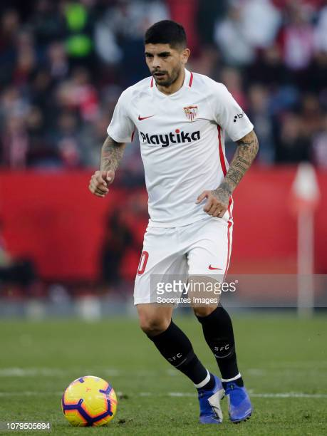 Ever Banega of Sevilla FC during the La Liga Santander match between Sevilla v Atletico Madrid at the Estadio Ramon Sanchez Pizjuan on January 6 2019...