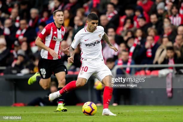 Ever Banega of Sevilla FC during the La Liga Santander match between Athletic de Bilbao v Sevilla at the Estadio San Mames on January 13 2019 in...